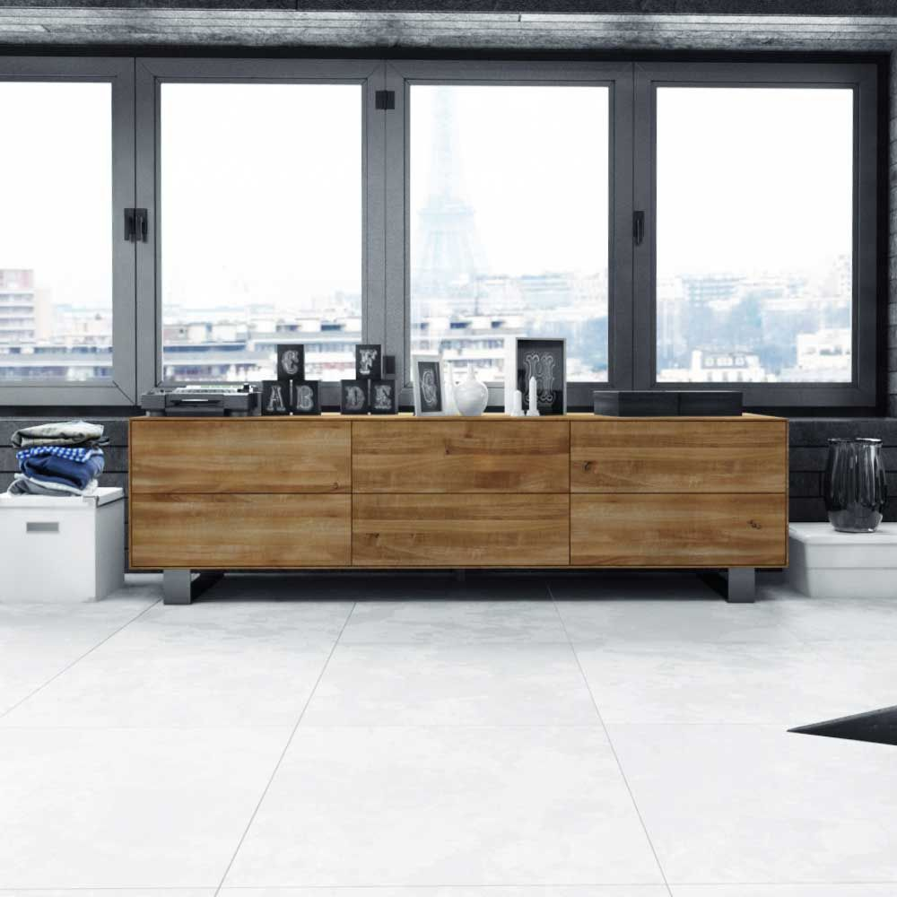 Design Lowboard Vaneri Aus Wildeiche Massivholz Pharao24 De Side