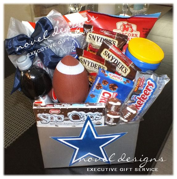 Sports theme baskets shown cowboys dad day ideas pinterest cute idea for the gift bag will have to ditch the cowboy sign negle Choice Image