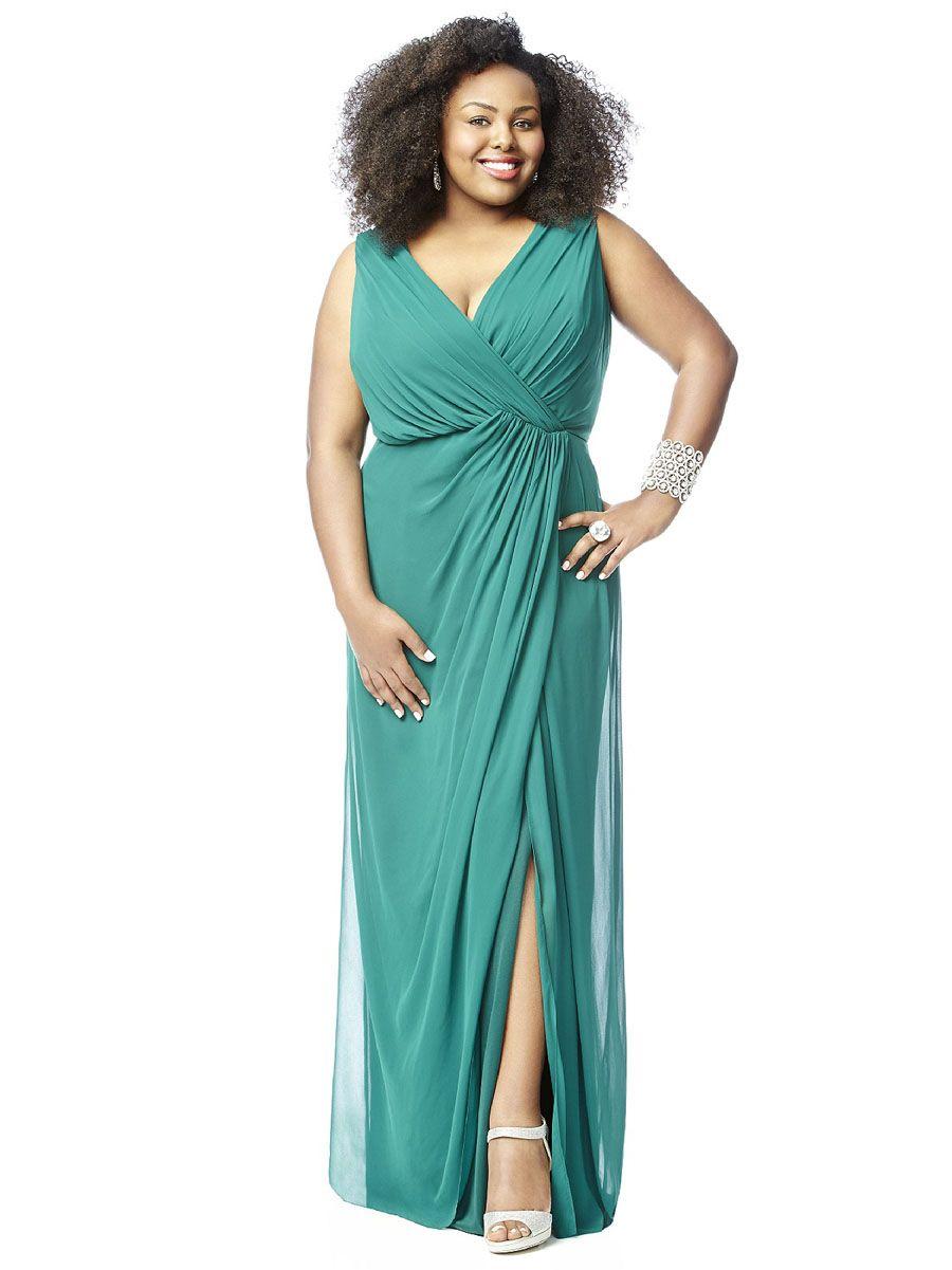 Side Draped Sleeveless V Neck Full Length Plus Size Bridesmaid Dress