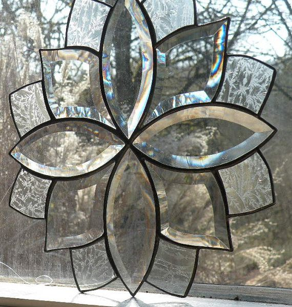 Clear Beveled Stained Glass Window Panel Stained Glass Stained Glass Windows Glass