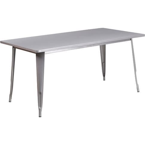 ihome brimmes rectangular 31 5 x 63 silver metal table for