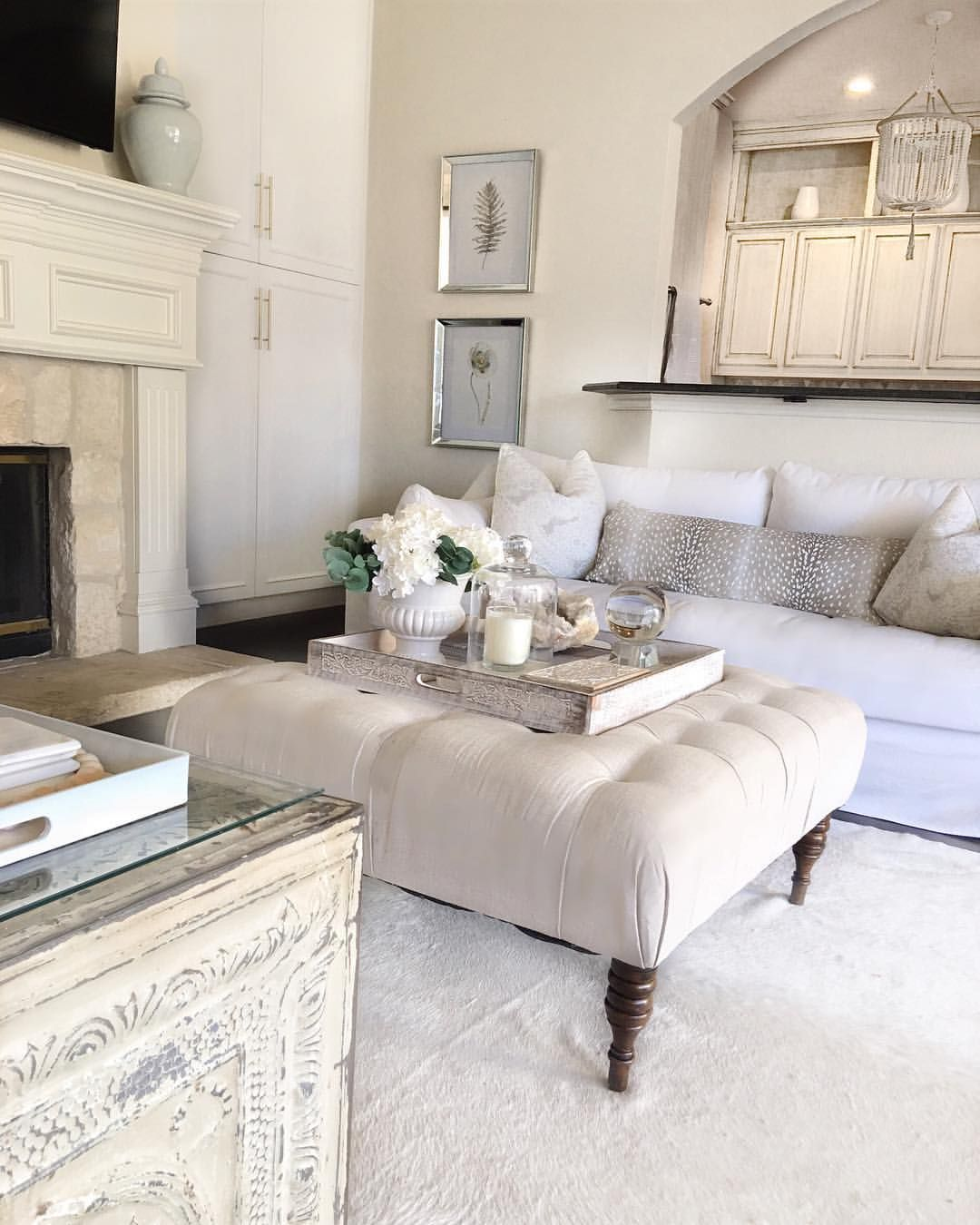 Neutral Living Room Farlov Sofa White Living Room Glam Decor