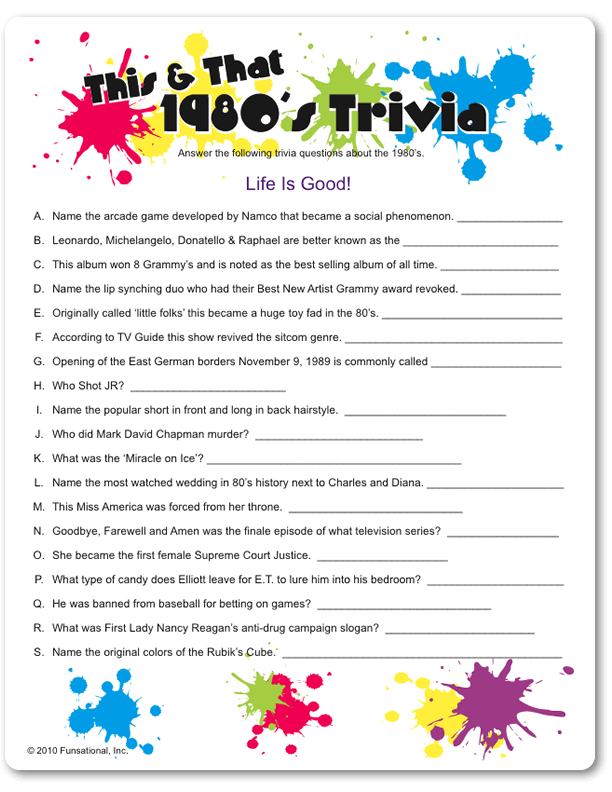 Dramatic image for 90s trivia questions and answers printable