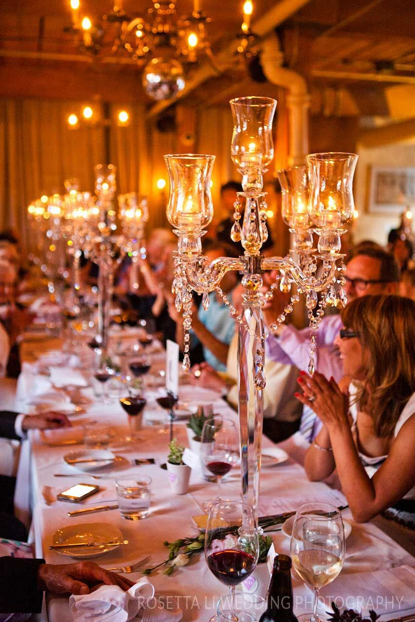 We love the juxtaposition of candelabras and potted