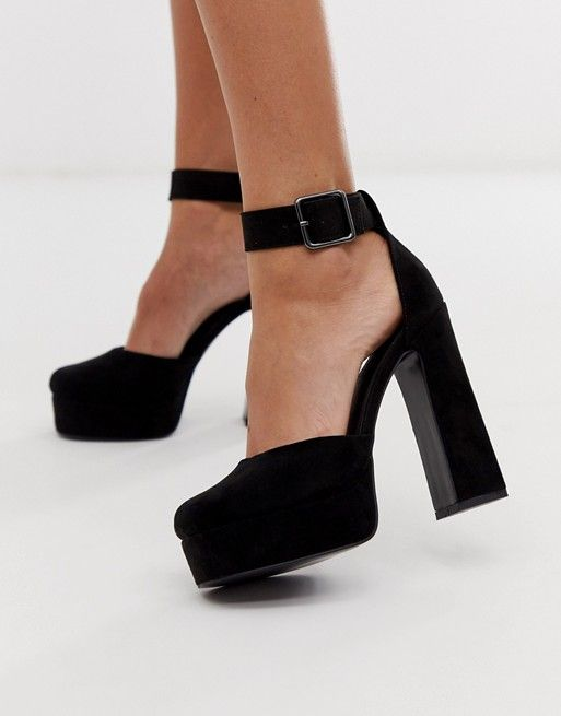 DESIGN Presta square toe platform high heels in black #highsandals