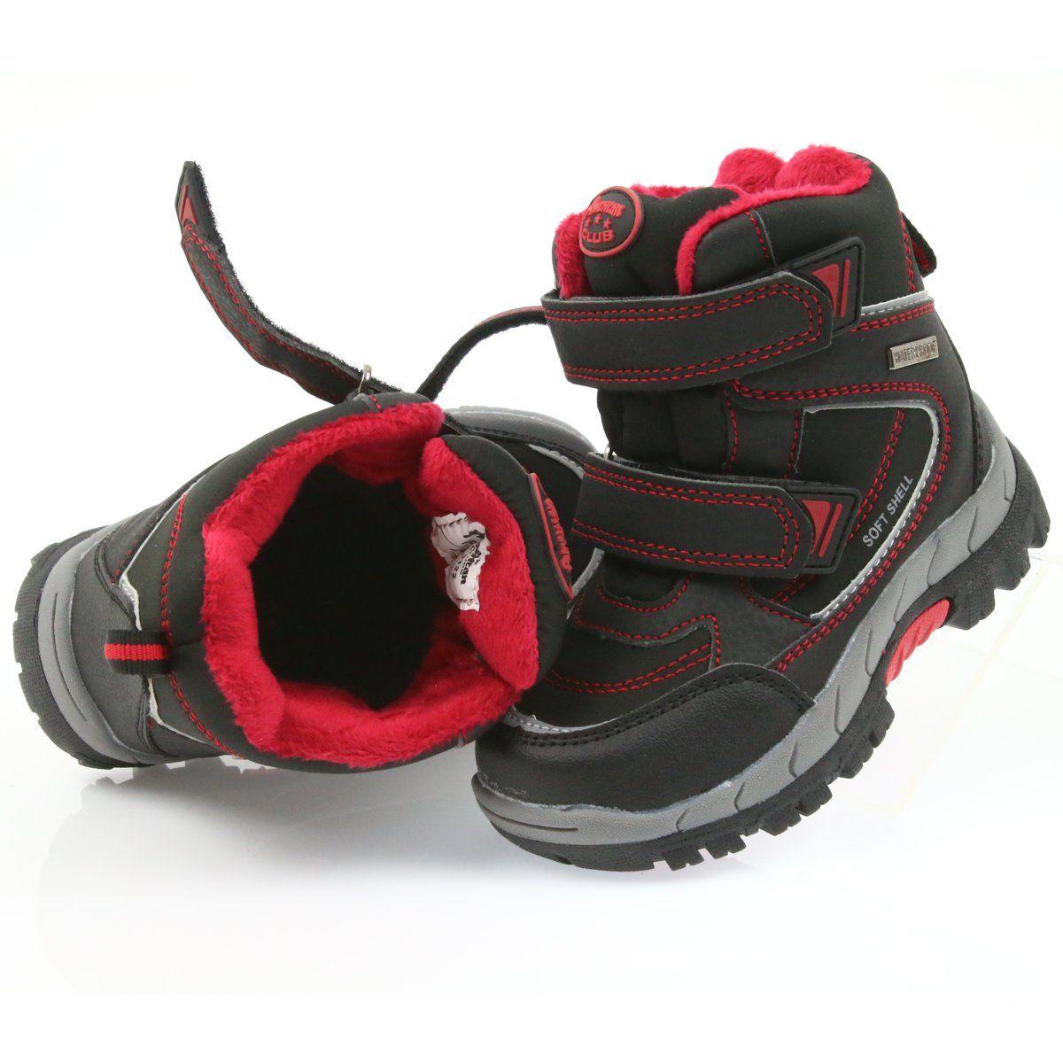 American Club American Kozaki Buty Zimowe Z Membrana 3122 Czarne Czerwone Shoes Baby Shoes Kids