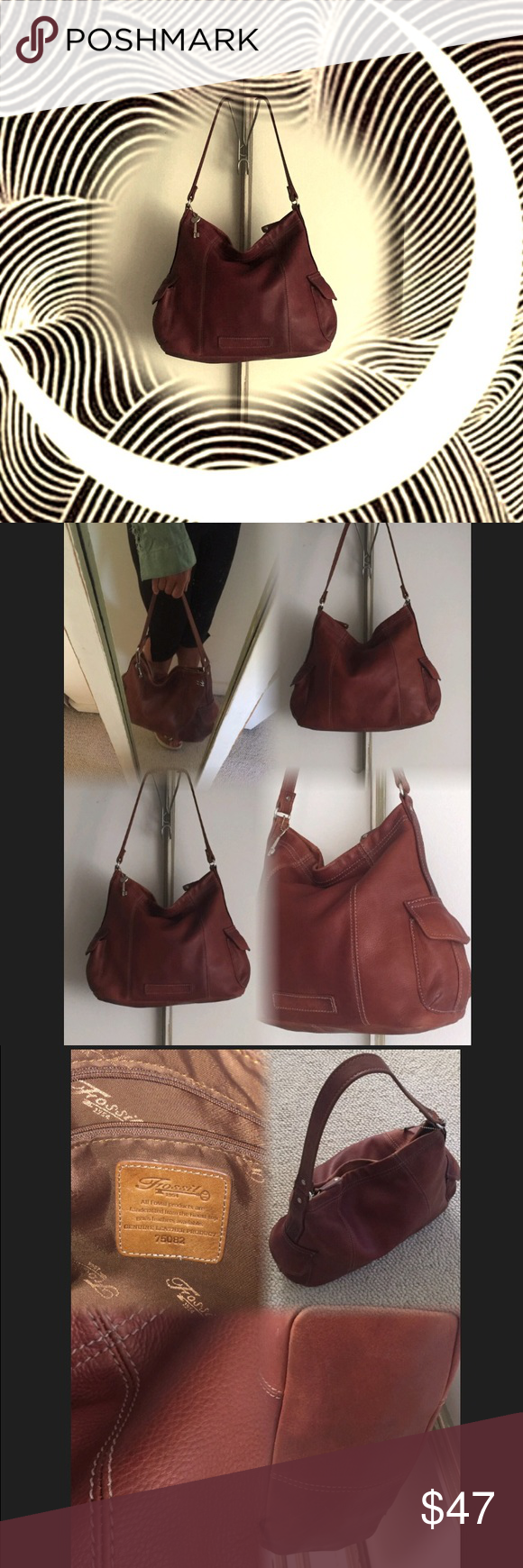"""Fossil Pebbled Leather Bag From the """"Fossil 1954"""" Collection of vintage like soft oiled leather functional bags.. Single strap handle is 1 1/4"""" wide.. Handle drop :11""""  height:10.5"""". Width ;13.5""""  Depth:5"""" Two exterior flap snap pockets .. One interior zip pocket two open pockets .. Top zip on this bag with leather logo zipper pull..  Great bag with no stain tears or rips.. Beautiful leather .. No trades no pay pal. Fossil Bags Shoulder Bags"""