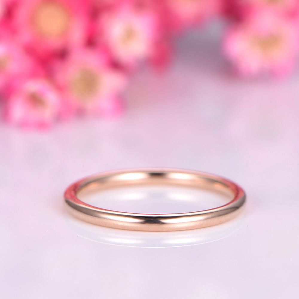 Plain gold ring simple plain gold wedding band solid 14k rose gold ...
