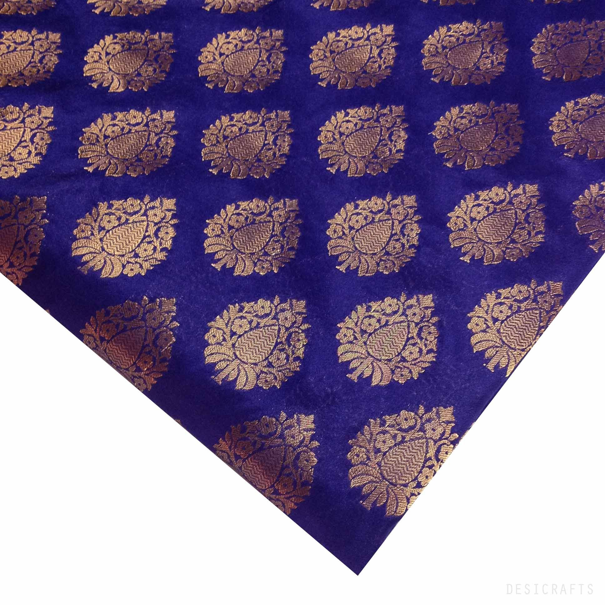 Blue and Gold Jacquard Silk Fabric – DesiCrafts   borders ...