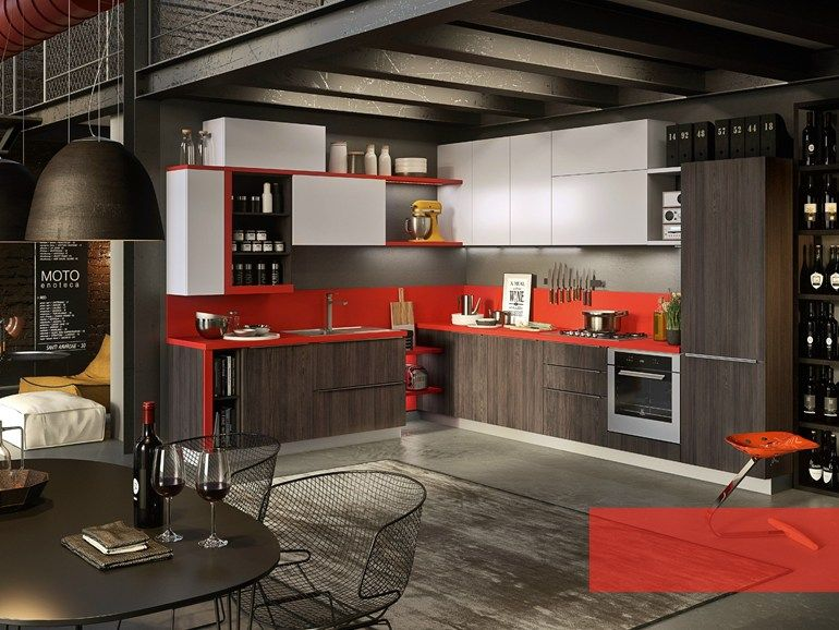 Fitted kitchen with integrated handles strip abaco by - Abaco cocinas ...