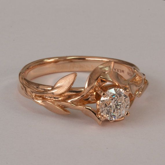 Leaves Engagement Ring No 4 14K Rose Gold and Diamond