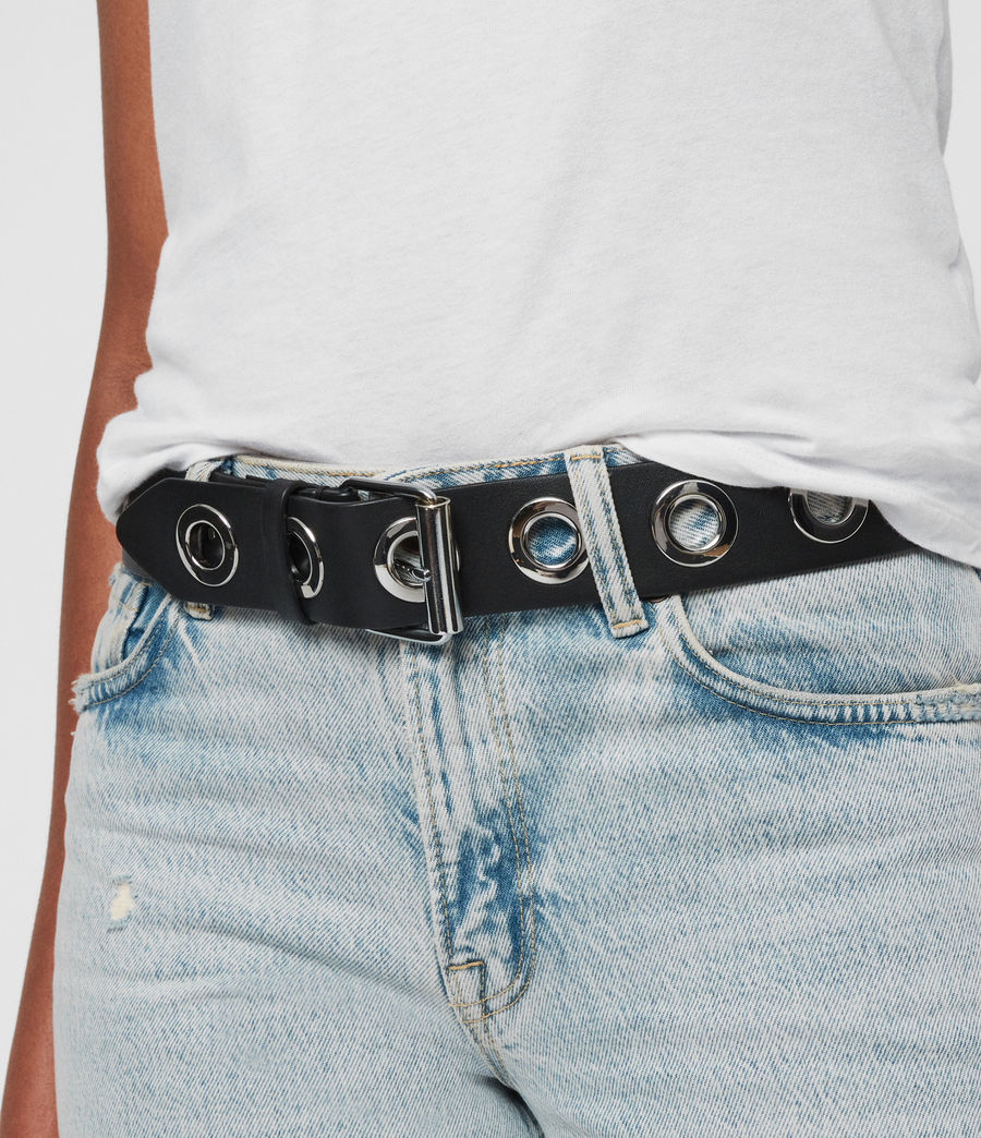 Women Metal Pin Big Round Buckle Belt Lady Faux Leather Jeans Dress Waistband