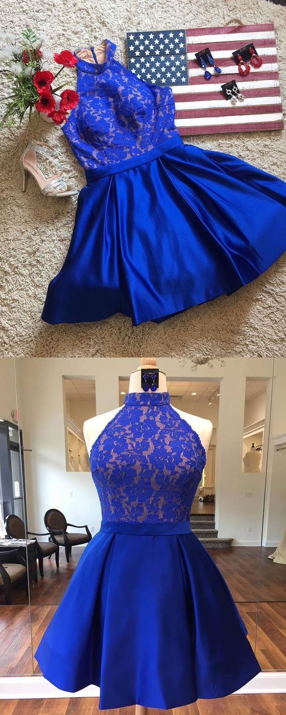 Cute a line halter satin royal blue lace short homecoming dresses