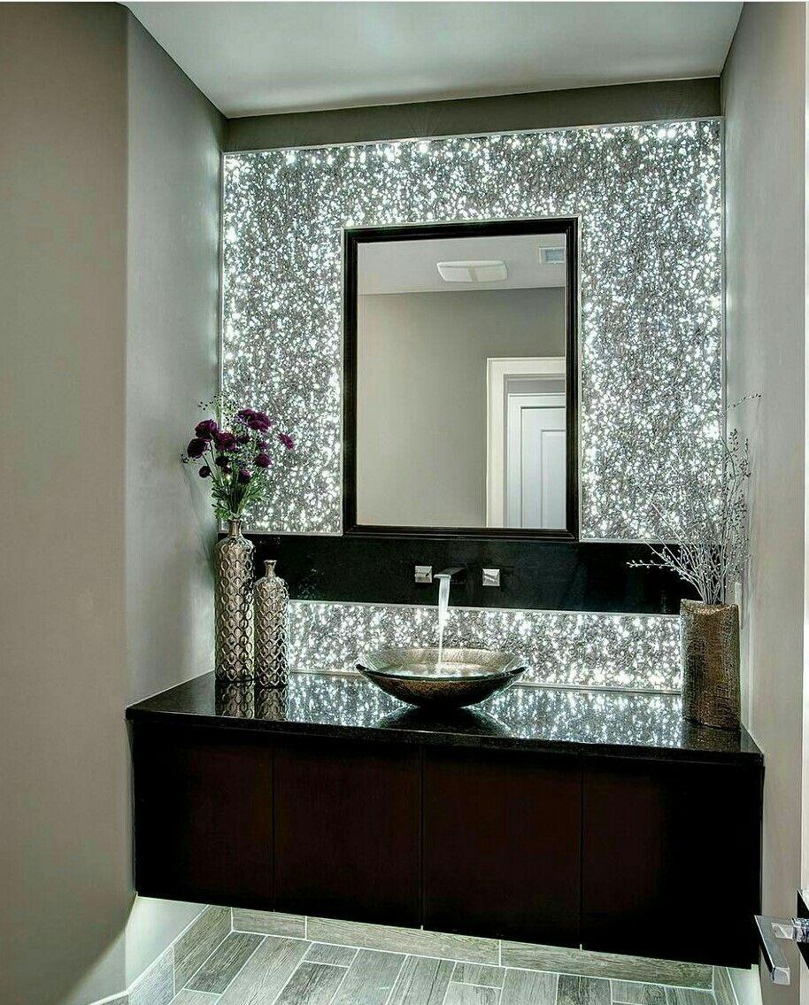 Lighted tiles beautiful backsplash bowl sink black countertops