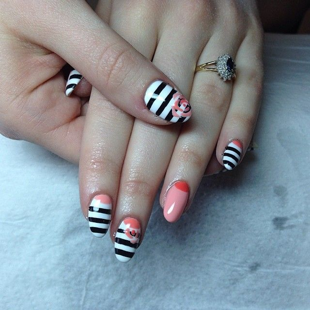 #cute #nails #nailart #natural #geloverlay #nailarch #stripes #corals #roses #nailporn
