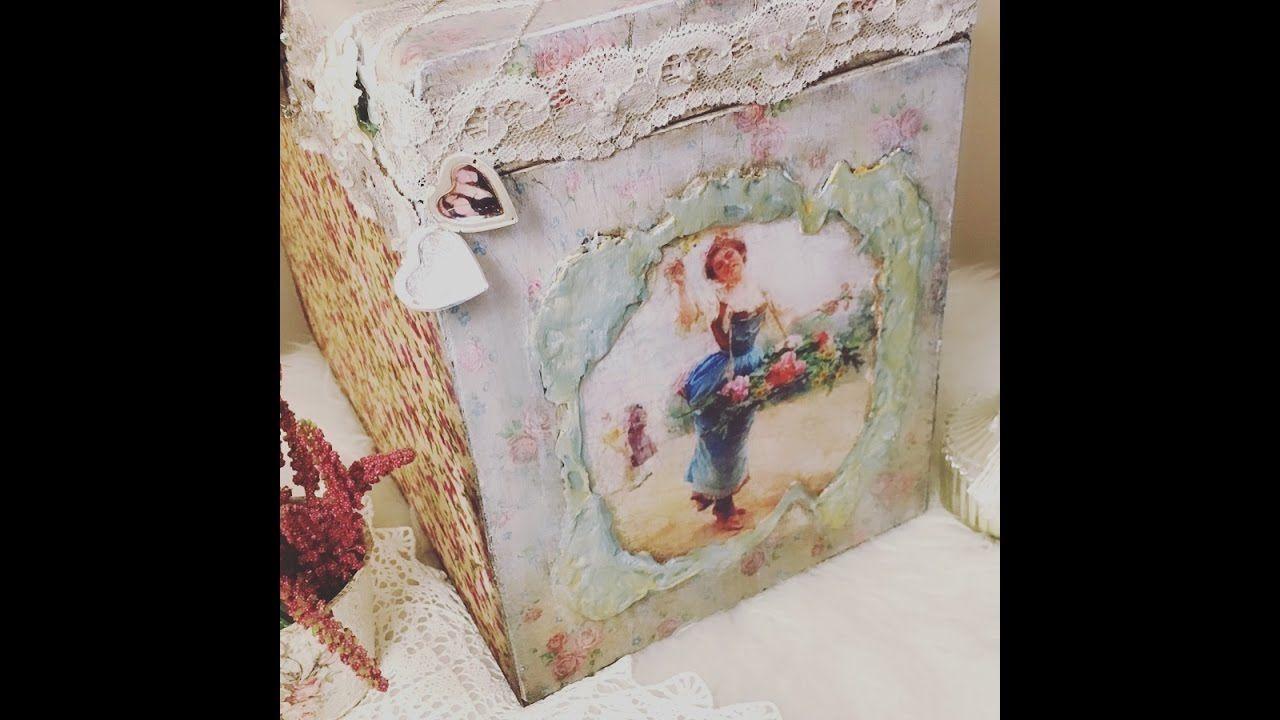 كيف نلصق القماش على المعدن ديكوباج قماش ومناديل على المعدن Decorative Boxes Decoupage Decor
