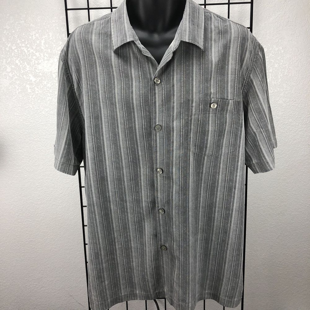 3bab57d8d6f1 Tommy Bahama Men s 100% Silk Gray White Striped Button-Front Shirt Size XL   TommyBahama  ButtonFront