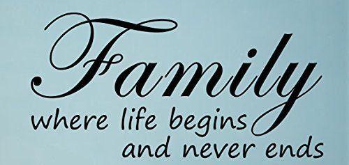 Family Where Life Begins-Home Decor-Wall Sticker Decal-Wall Art-Wall Decor-Wa...