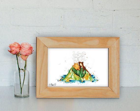 I Lava You Volcano Watercolour Print I Love You by CoconuTacha
