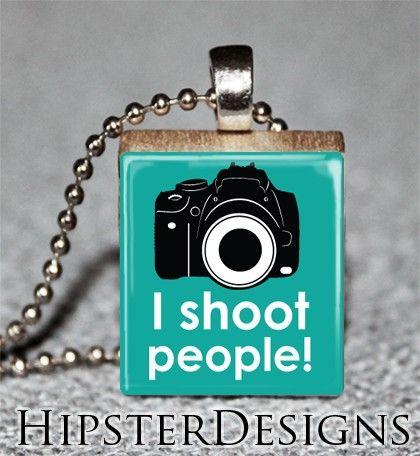 Scrabble Tile Pendant - I Shoot People Camera Photography - Free Ball Chain Necklace. $6.50, via Etsy.