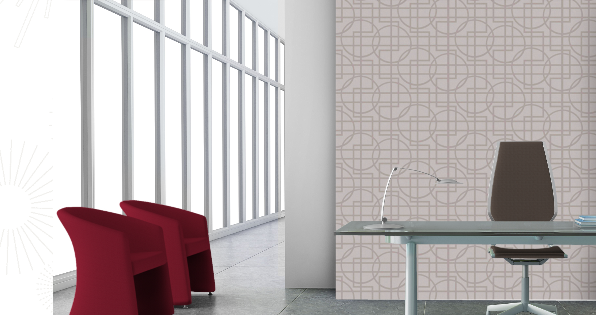 Reception Wall:  2/3 Height Vinyl Wallcovering (Tri-Kes China Fret, Fedora) with paint below