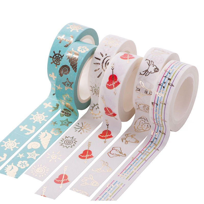Colorful Decorative Paper Tape Album Gold Foil Washi Sticker #1 for Scrapbooking Decor DIY Craft Gift