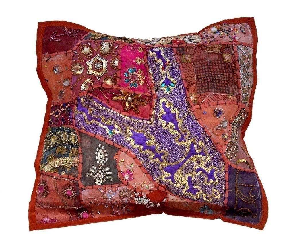 A Red Embroidery Sequin Patchwork Vintage Pillow Cases Cushion Cover