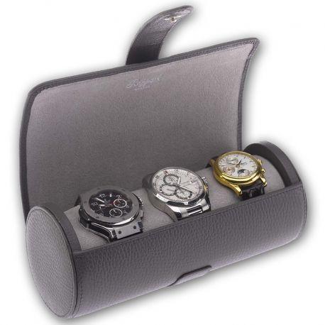 d4b0acdf4f8 Triple Watch Roll Travel Box D182 Rapport Berkeley Gray Leather