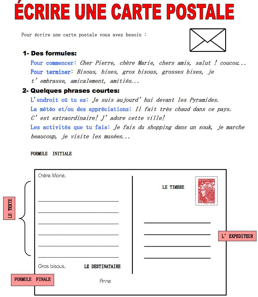 texte pour carte postale Écrire une carte postale (avec images) | L'éducation française
