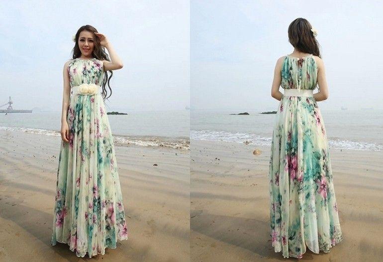 d9bf337be2ca Summer Floral Long Beach Maxi Dress Lightweight Sundress Plus Size Summer  Dress Holiday Beach Dress on Luulla