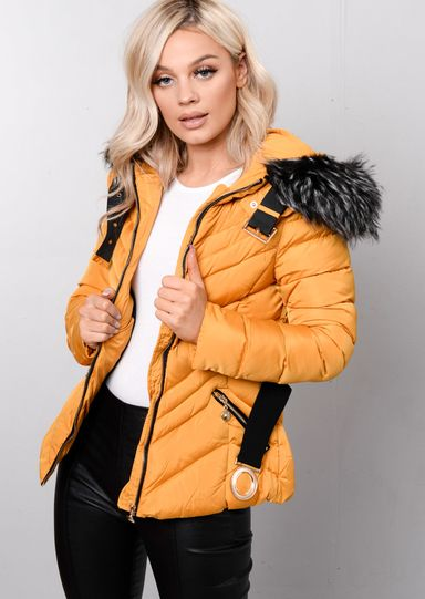 b669e185c730 Quilted Faux fur Hooded Padded Belted Puffer Coat Mustard Yellow ...
