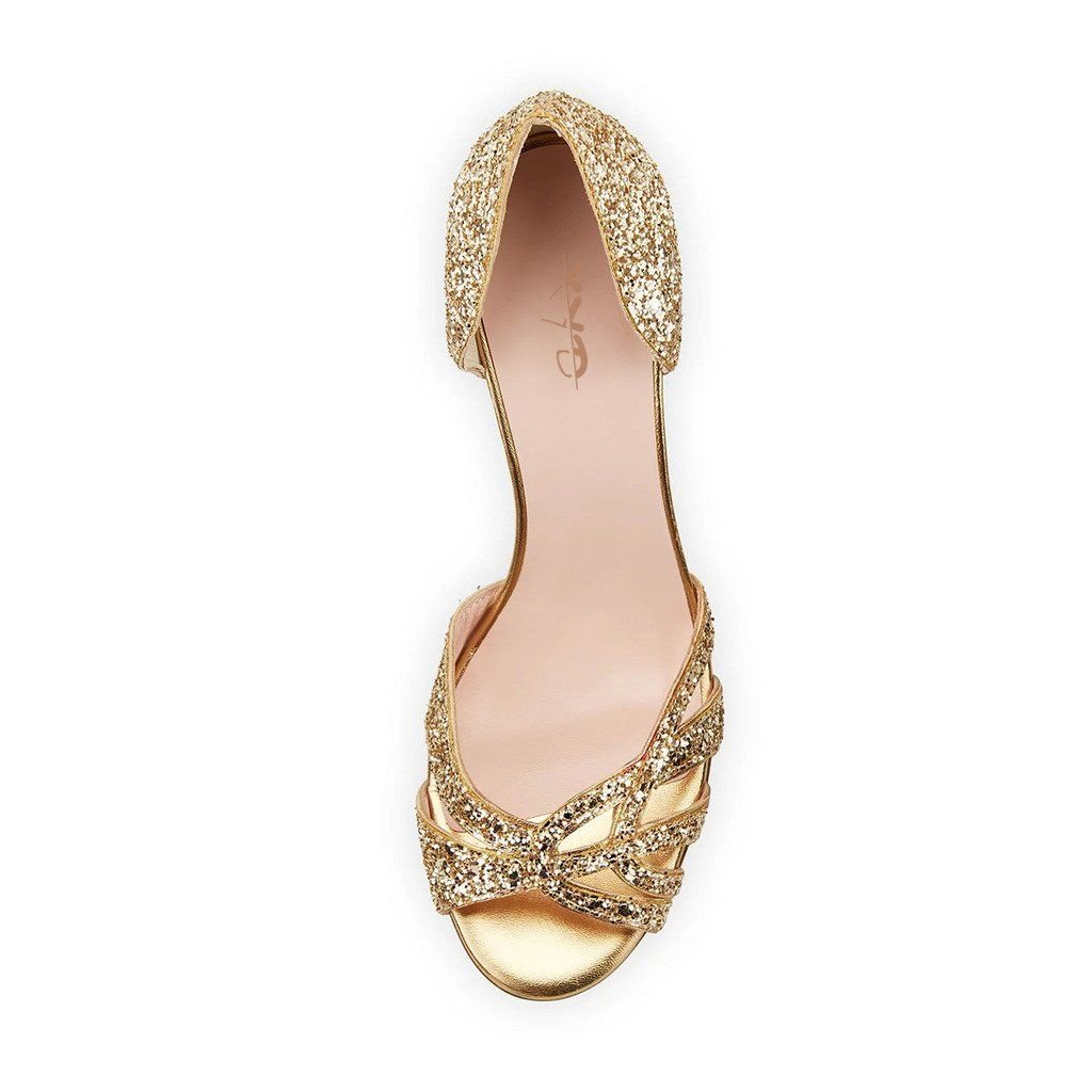 e712d8a35683 XYD Embellished Glittering High Heel Stilettos Peep Toe Sandals Cut Out  Dorsay Pumps Shoes for Women Size 9 Glod *** You can find more details by  visiting ...