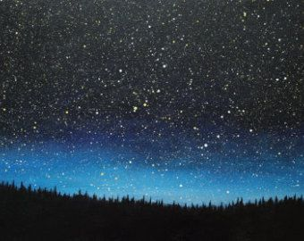 Night Sky Painting Snowy Landscape With A Tent By Kathrynbeals Night Sky Painting Sky Painting Night Sky Drawing