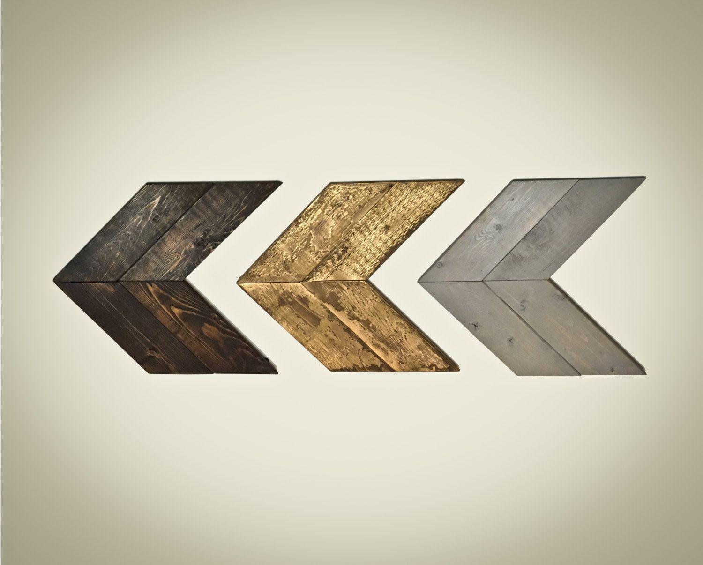 Set Of 3 Rustic Chevron Wood Arrows  Wall Art, Home Decor, Wooden Chevron  Arrow, Rustic Home Decor, Wood Arrow Decor, Wood Arrow Sign