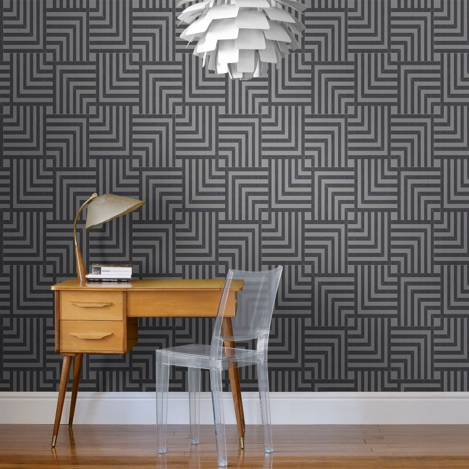 Colours Maze Black Silver Geometric Glitter Effect Wallpaper