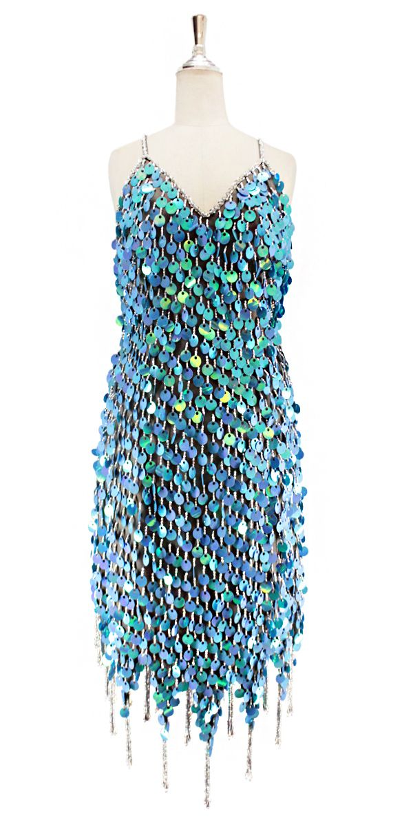 a27166570631 A short handmade sequin dress, in 20mm pearl iridescent blue paillette  sequins with silver faceted beads, a luxe grey fabric background and  jagged, ...