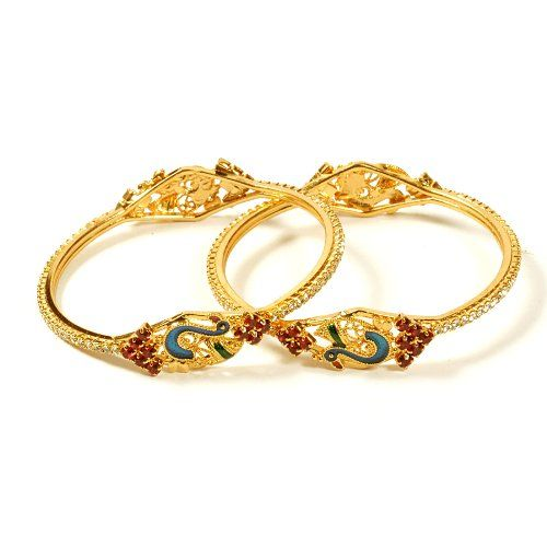 Jewbang gold plated white maroon stone peacock model bangles 26SIZE set for girls