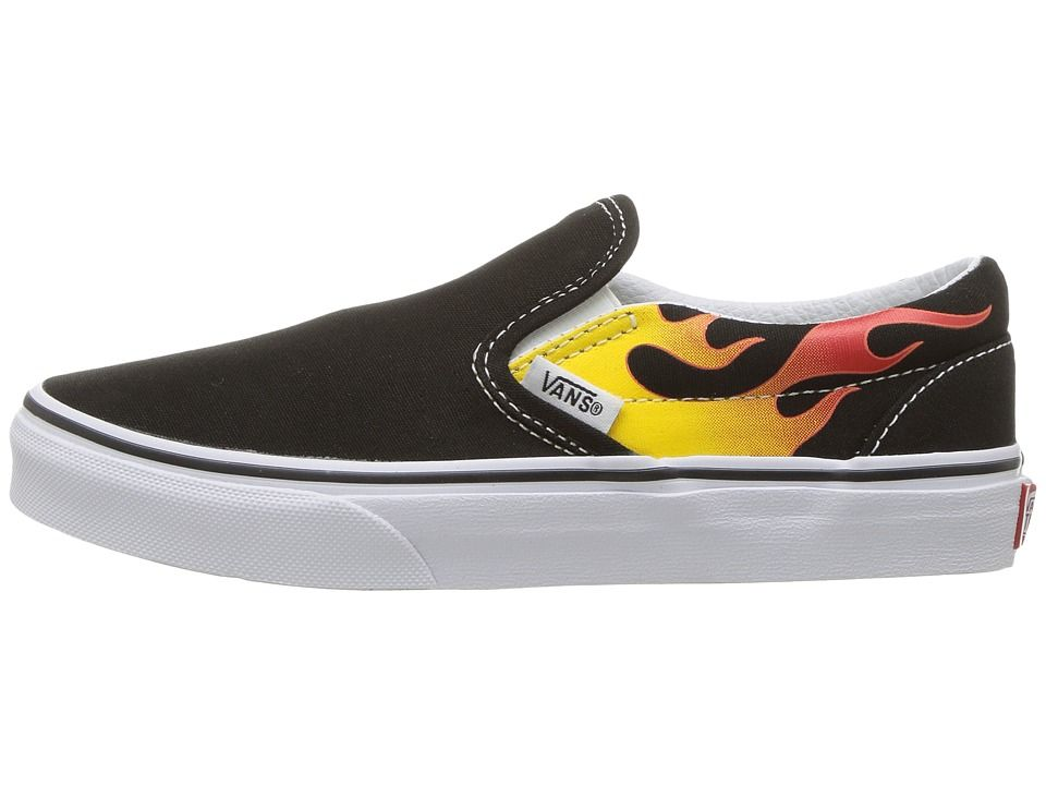 678e7cfc6f Vans Kids Classic Slip-On (Little Kid Big Kid) Boys Shoes (Flame)  Black Black True White