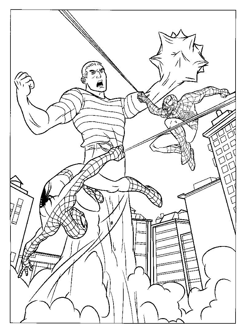 Spiderman Pages To Color Gambar