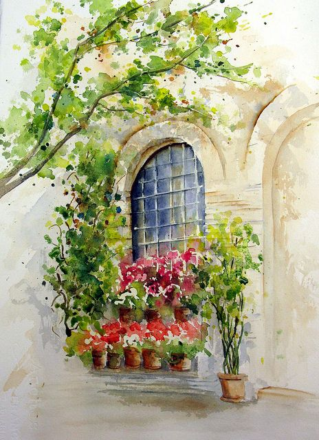 Watercolor Window Scene Illustration Effet Aquarelle Peinture