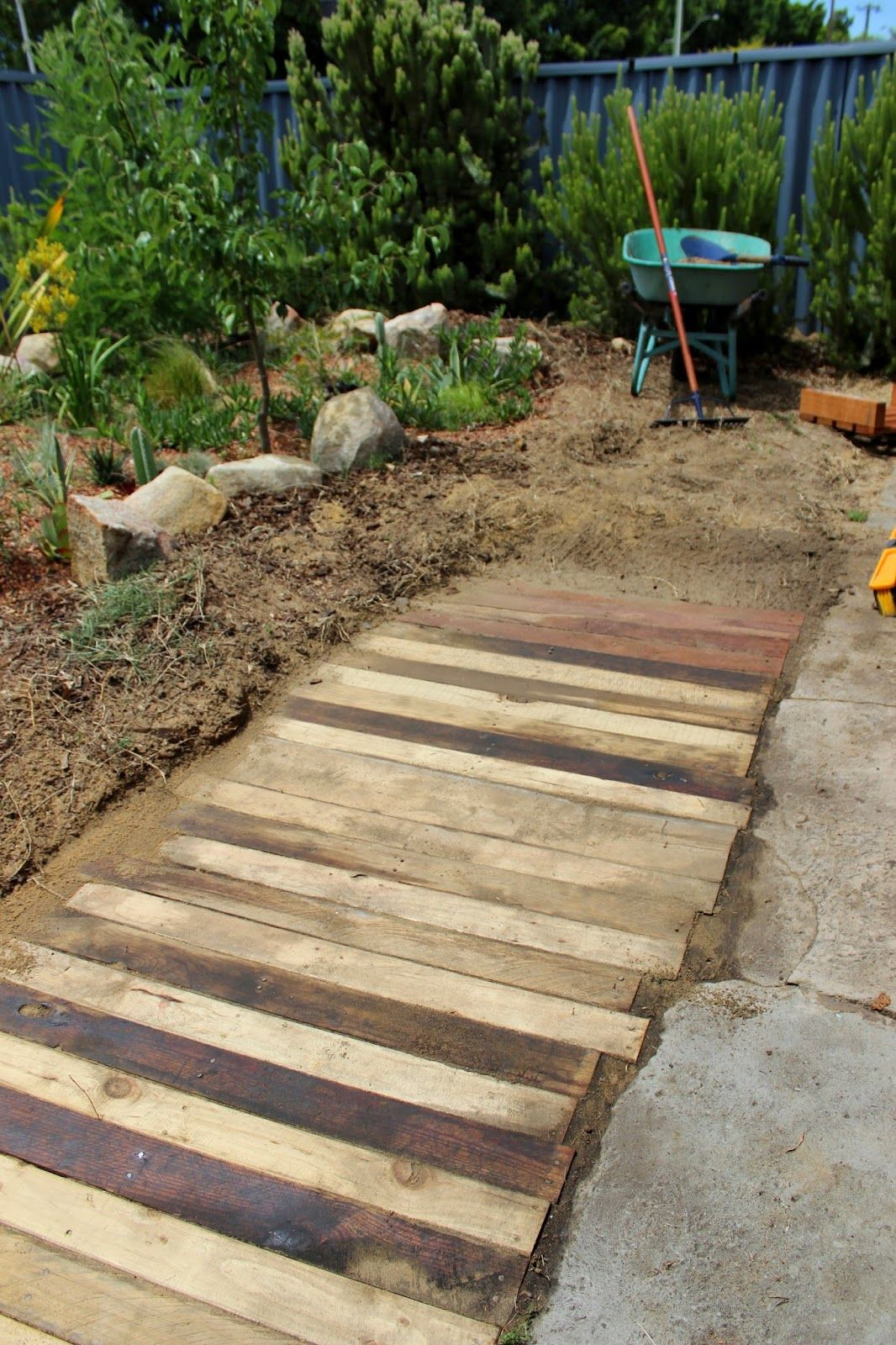 Crumbs: Wooden pallet walkway/footpath