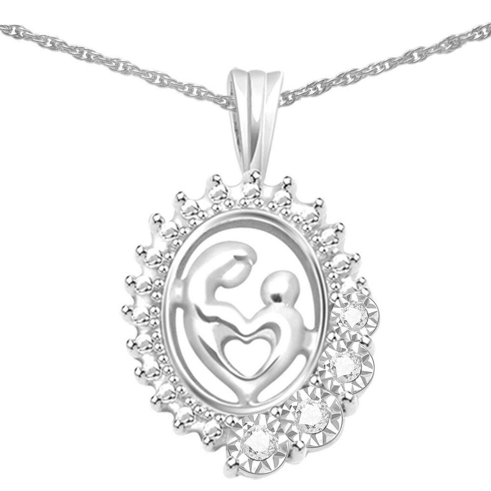 Womens real diamond mom child heart pendant u chain set mothers day