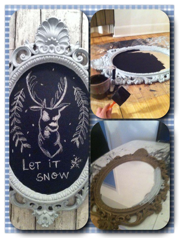 DIY Vieux miroir  chalkboard paint et chalkpaint Mes