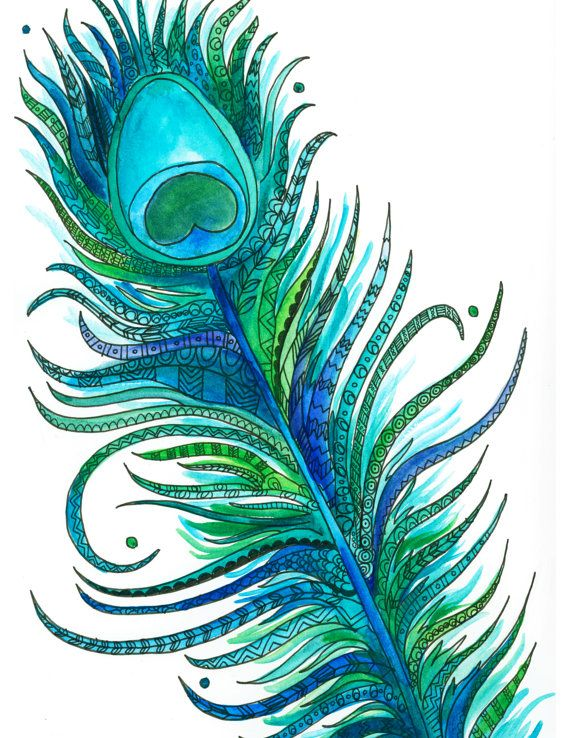 Bright Decorated Watercolor Ink Blue Green Turquoise Pea Feather Henna Design Ilration Print