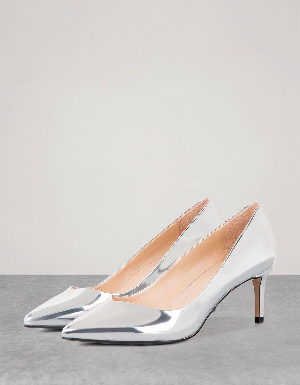 Bershka España medio Zapato tacón medio España metalizado Zapatos en 2018 d3dae7
