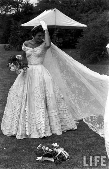 Jackie on her wedding day to jfk vintage weddings pinterest the wedding of john f kennedy and jacqueline bouvier september you cant get more classic than jackie her cathedral veil is our favorite junglespirit Image collections