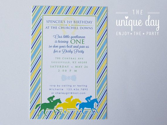 Kentucky Derby Birthday Invitation Thank you card by theuniqueday
