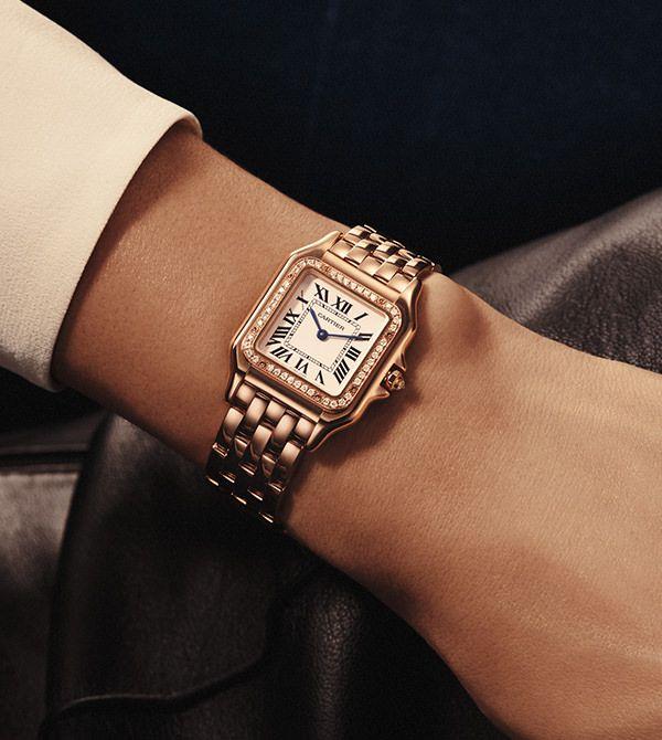 9e70a2edbe3e Cartier Panthère de Cartier Medium 18-Karat Pink Gold Diamond Watch ...