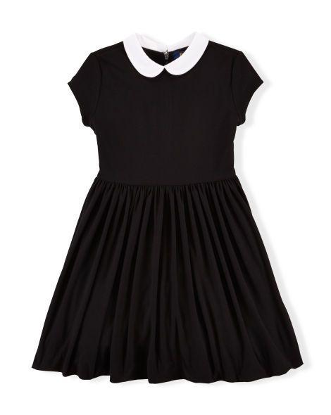 Abbyabbie.Li Girls Short Sleeve Uniform Dresses Casual Peter Pan Collar Fit and Flare Skater Dress 2-12 Years