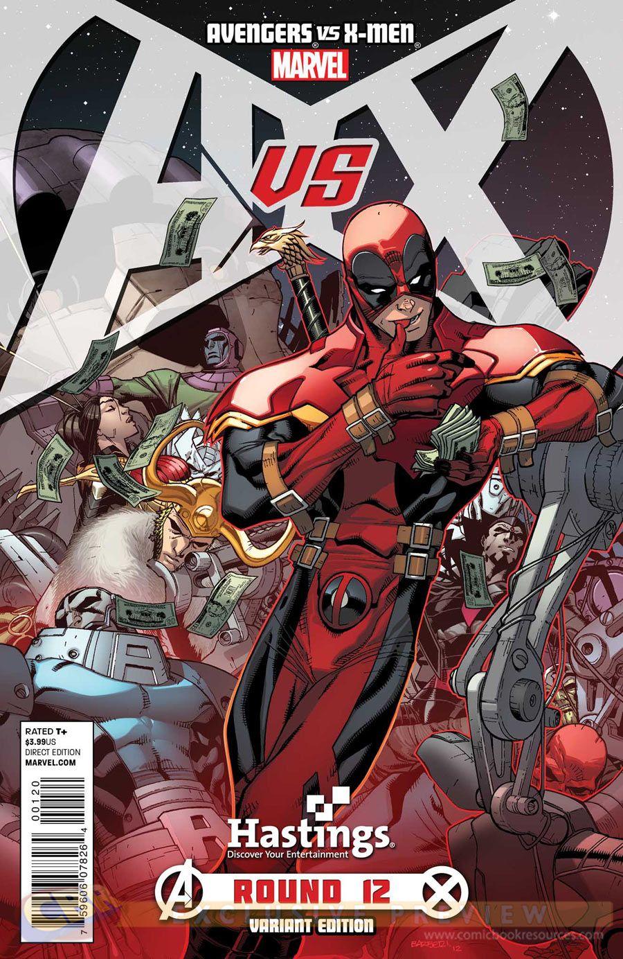 Avengers Vs X Men 12 Deadpool Hastings Variant Cover Marvel Comic Books Deadpool Comics